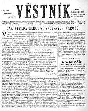 Primary view of object titled 'Věstník (West, Tex.), Vol. 36, No. 40, Ed. 1 Wednesday, September 29, 1948'.