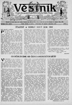 Primary view of object titled 'Věstník (West, Tex.), Vol. 23, No. 7, Ed. 1 Wednesday, December 26, 1934'.
