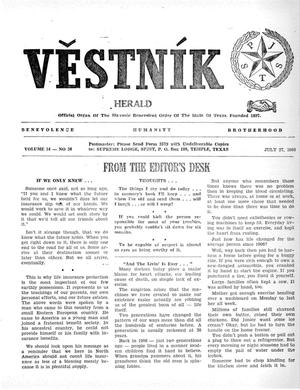 Primary view of object titled 'Věstník (West, Tex.), Vol. 54, No. 30, Ed. 1 Wednesday, July 27, 1966'.