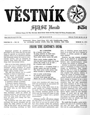 Primary view of object titled 'Věstník (West, Tex.), Vol. 59, No. 11, Ed. 1 Wednesday, March 17, 1971'.
