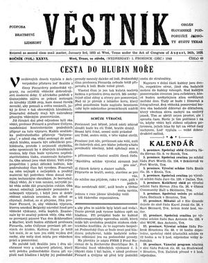 Primary view of object titled 'Věstník (West, Tex.), Vol. 36, No. 49, Ed. 1 Wednesday, December 1, 1948'.