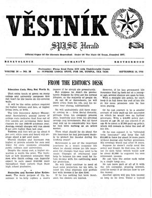 Primary view of object titled 'Věstník (West, Tex.), Vol. 56, No. 38, Ed. 1 Wednesday, September 18, 1968'.