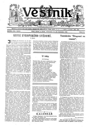 Primary view of object titled 'Věstník (West, Tex.), Vol. 34, No. 39, Ed. 1 Wednesday, September 25, 1946'.