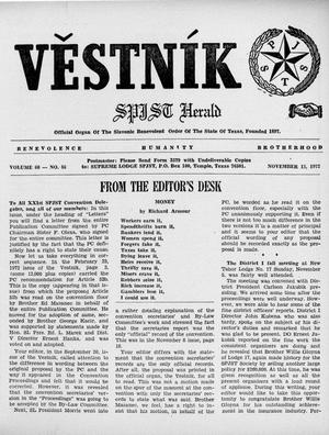 Primary view of object titled 'Věstník (West, Tex.), Vol. 60, No. 46, Ed. 1 Wednesday, November 15, 1972'.