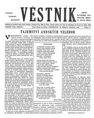 Primary view of object titled 'Věstník (West, Tex.), Vol. 37, No. 13, Ed. 1 Wednesday, March 30, 1949'.