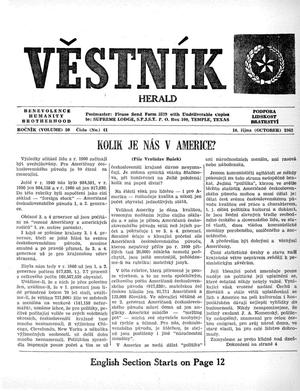 Primary view of object titled 'Věstník (West, Tex.), Vol. 50, No. 41, Ed. 1 Wednesday, October 10, 1962'.