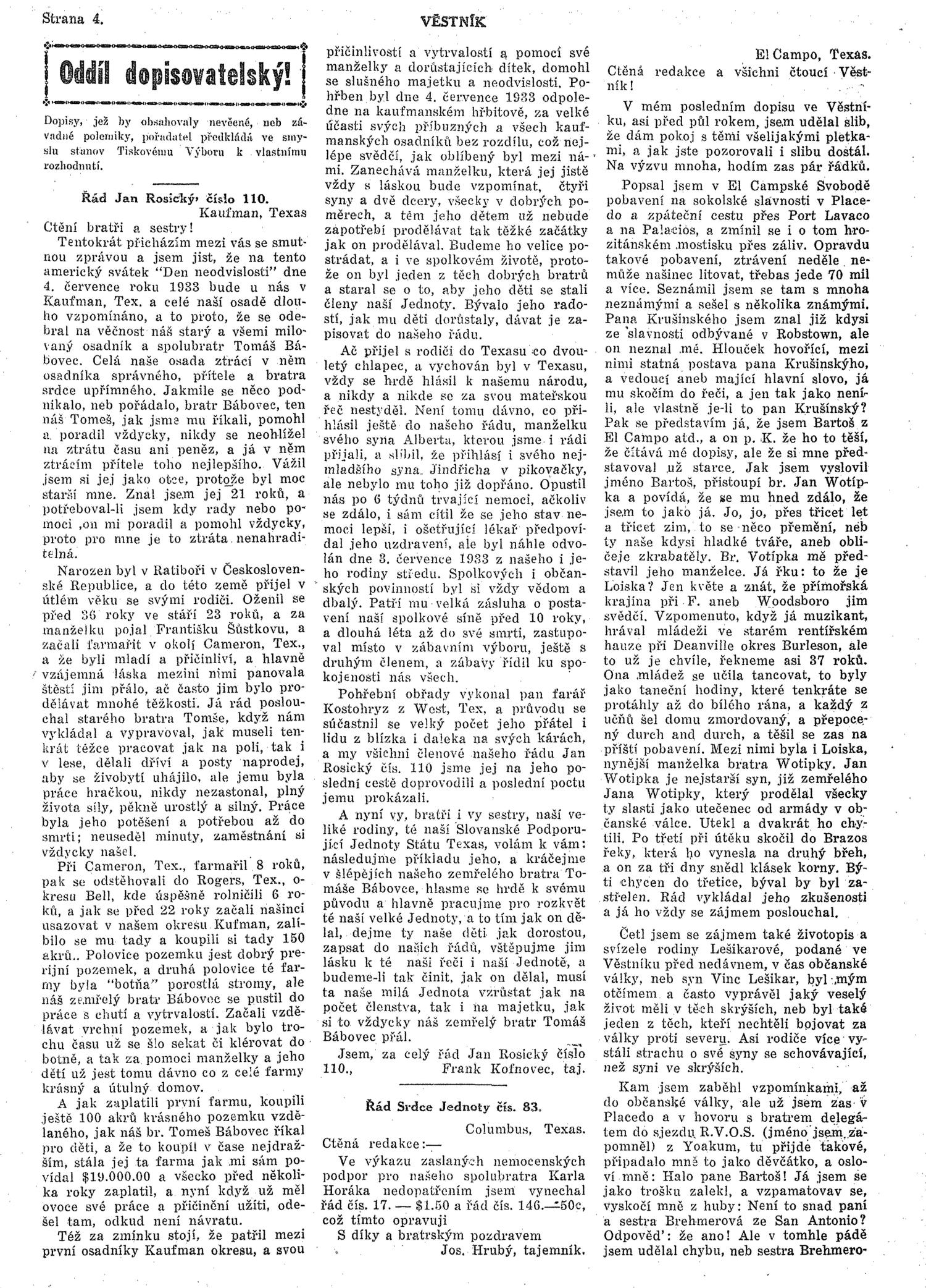 Věstník (West, Tex.), Vol. 21, No. 35, Ed. 1 Wednesday, July 12, 1933                                                                                                      [Sequence #]: 4 of 16