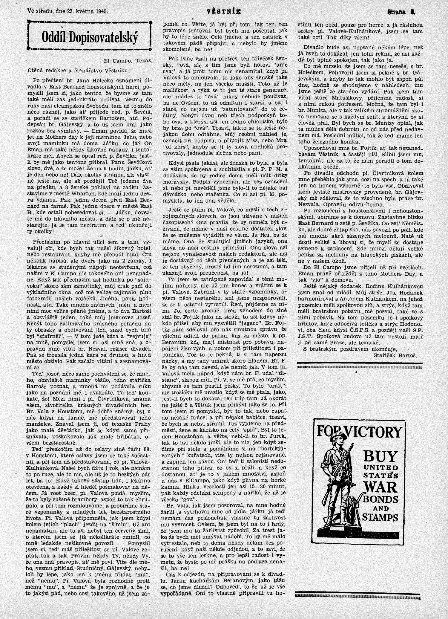 Věstník (West, Tex.), Vol. 33, No. 21, Ed. 1 Wednesday, May 23, 1945                                                                                                      [Sequence #]: 3 of 16
