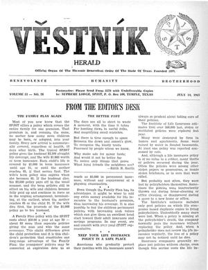 Primary view of object titled 'Věstník (West, Tex.), Vol. 53, No. 28, Ed. 1 Wednesday, July 14, 1965'.