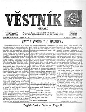 Primary view of object titled 'Věstník (West, Tex.), Vol. 51, No. 11, Ed. 1 Wednesday, March 13, 1963'.