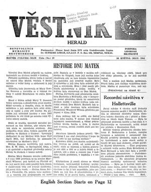 Primary view of object titled 'Věstník (West, Tex.), Vol. 49, No. 19, Ed. 1 Wednesday, May 10, 1961'.