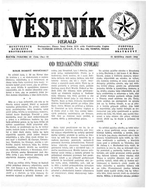 Primary view of object titled 'Věstník (West, Tex.), Vol. 52, No. 22, Ed. 1 Wednesday, May 27, 1964'.