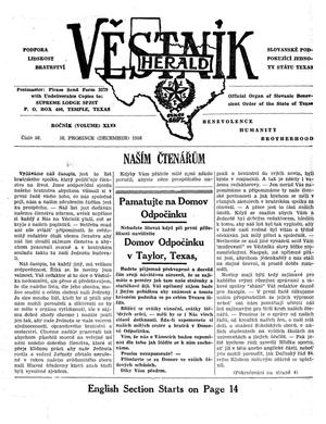 Primary view of object titled 'Věstník (West, Tex.), Vol. 46, No. 50, Ed. 1 Wednesday, December 10, 1958'.