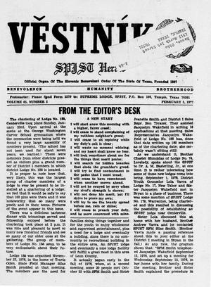 Primary view of object titled 'Věstník (West, Tex.), Vol. 65, No. 5, Ed. 1 Wednesday, February 2, 1977'.
