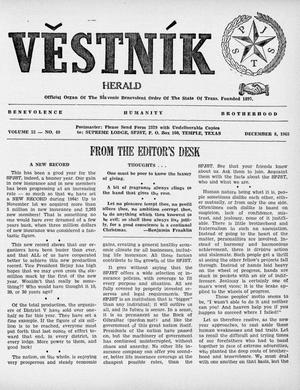 Primary view of object titled 'Věstník (West, Tex.), Vol. 53, No. 49, Ed. 1 Wednesday, December 8, 1965'.