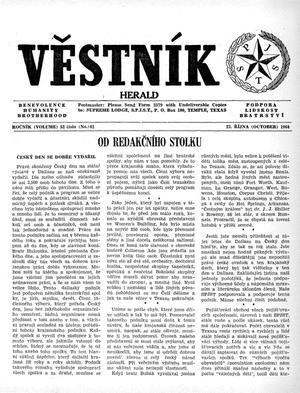 Primary view of object titled 'Věstník (West, Tex.), Vol. 52, No. 42, Ed. 1 Wednesday, October 21, 1964'.