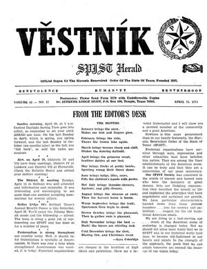 Primary view of object titled 'Věstník (West, Tex.), Vol. 61, No. 17, Ed. 1 Wednesday, April 25, 1973'.