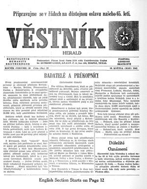 Primary view of object titled 'Věstník (West, Tex.), Vol. 50, No. 22, Ed. 1 Wednesday, May 30, 1962'.