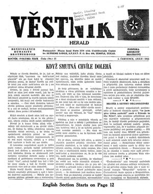 Primary view of object titled 'Věstník (West, Tex.), Vol. 49, No. 27, Ed. 1 Wednesday, July 5, 1961'.