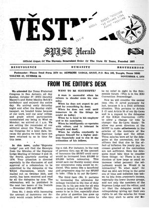 Primary view of object titled 'Věstník (West, Tex.), Vol. 62, No. 44, Ed. 1 Wednesday, November 6, 1974'.
