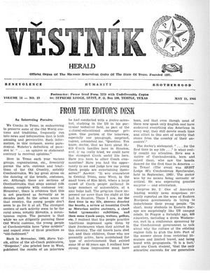 Primary view of object titled 'Věstník (West, Tex.), Vol. 54, No. 19, Ed. 1 Wednesday, May 11, 1966'.