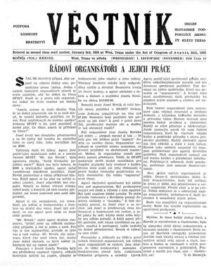 Primary view of object titled 'Věstník (West, Tex.), Vol. 38, No. 44, Ed. 1 Wednesday, November 1, 1950'.