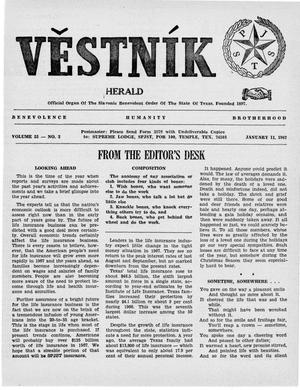 Primary view of object titled 'Věstník (West, Tex.), Vol. 55, No. 2, Ed. 1 Wednesday, January 11, 1967'.