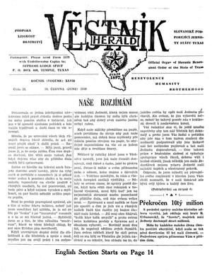Primary view of object titled 'Věstník (West, Tex.), Vol. 47, No. 23, Ed. 1 Wednesday, June 10, 1959'.