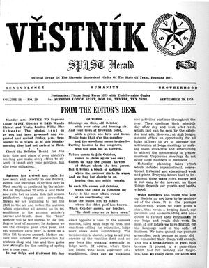 Primary view of object titled 'Věstník (West, Tex.), Vol. 58, No. 39, Ed. 1 Wednesday, September 30, 1970'.