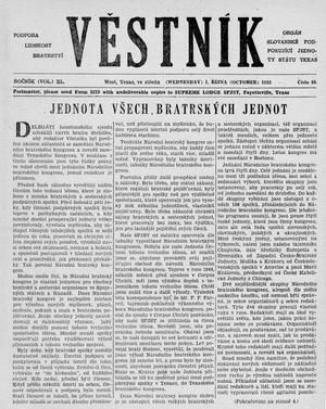 Primary view of object titled 'Věstník (West, Tex.), Vol. 40, No. 40, Ed. 1 Wednesday, October 1, 1952'.