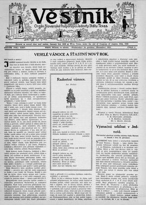 Primary view of object titled 'Věstník (West, Tex.), Vol. 24, No. 6, Ed. 1 Wednesday, December 18, 1935'.
