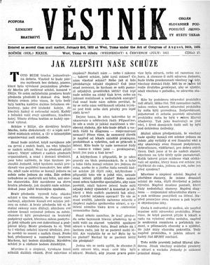 Primary view of object titled 'Věstník (West, Tex.), Vol. 39, No. 27, Ed. 1 Wednesday, July 4, 1951'.
