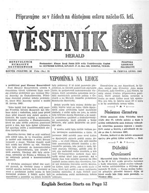 Primary view of object titled 'Věstník (West, Tex.), Vol. 50, No. 25, Ed. 1 Wednesday, June 20, 1962'.