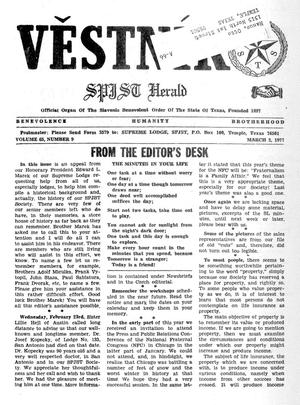Primary view of object titled 'Věstník (West, Tex.), Vol. 65, No. 9, Ed. 1 Wednesday, March 2, 1977'.