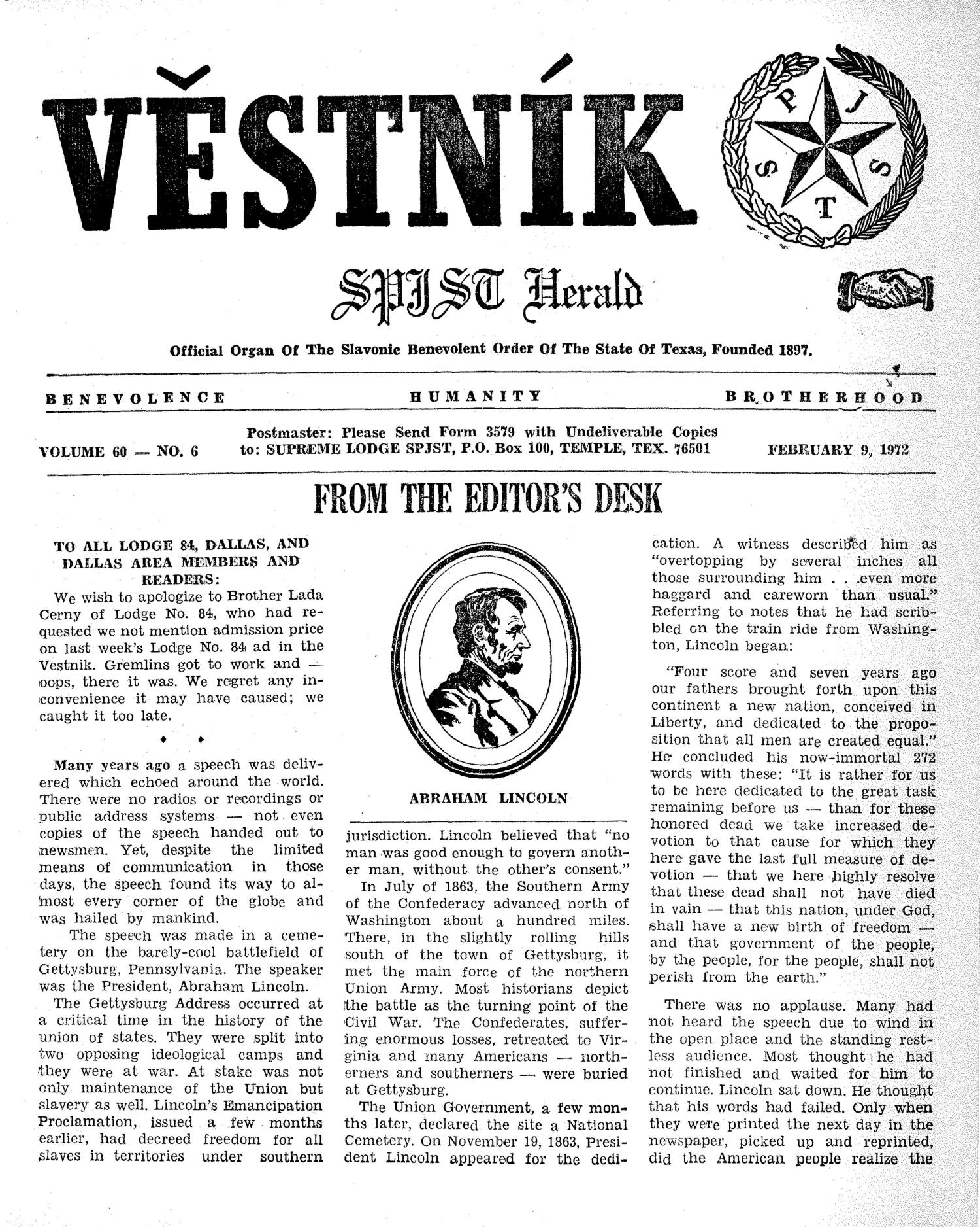 Věstník (West, Tex.), Vol. 60, No. 6, Ed. 1 Wednesday, February 9, 1972                                                                                                      [Sequence #]: 1 of 32