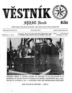 Primary view of object titled 'Věstník (West, Tex.), Vol. 56, No. 43, Ed. 1 Wednesday, October 23, 1968'.