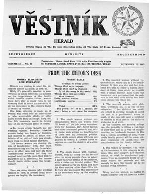 Primary view of object titled 'Věstník (West, Tex.), Vol. 53, No. 46, Ed. 1 Wednesday, November 17, 1965'.