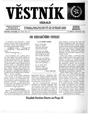 Primary view of object titled 'Věstník (West, Tex.), Vol. 51, No. 33, Ed. 1 Wednesday, August 14, 1963'.