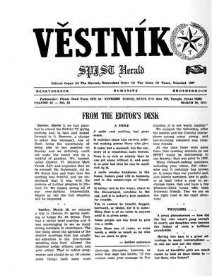 Primary view of object titled 'Věstník (West, Tex.), Vol. 62, No. 12, Ed. 1 Wednesday, March 20, 1974'.