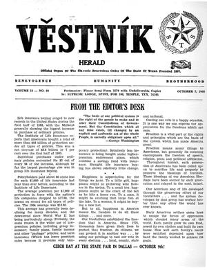 Primary view of object titled 'Věstník (West, Tex.), Vol. 54, No. 40, Ed. 1 Wednesday, October 5, 1966'.