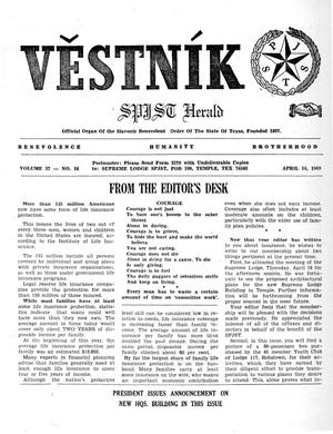 Primary view of object titled 'Věstník (West, Tex.), Vol. 57, No. 16, Ed. 1 Wednesday, April 16, 1969'.