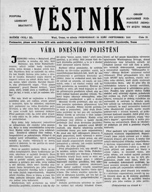Primary view of object titled 'Věstník (West, Tex.), Vol. 40, No. 39, Ed. 1 Wednesday, September 24, 1952'.