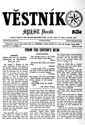 Primary view of object titled 'Věstník (West, Tex.), Vol. 63, No. 26, Ed. 1 Wednesday, June 25, 1975'.
