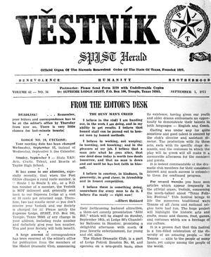 Primary view of object titled 'Věstník (West, Tex.), Vol. 61, No. 36, Ed. 1 Wednesday, September 5, 1973'.