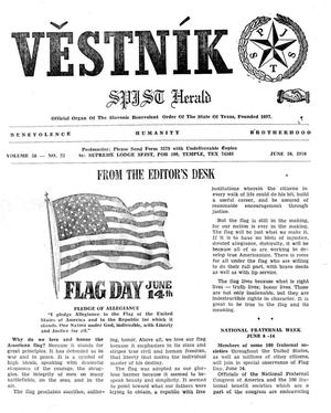 Primary view of object titled 'Věstník (West, Tex.), Vol. 58, No. 23, Ed. 1 Wednesday, June 10, 1970'.