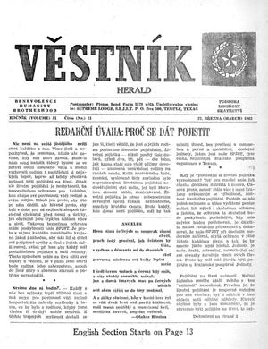 Primary view of object titled 'Věstník (West, Tex.), Vol. 51, No. 13, Ed. 1 Wednesday, March 27, 1963'.
