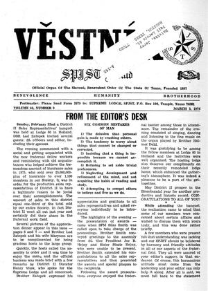 Primary view of object titled 'Věstník (West, Tex.), Vol. 64, No. 9, Ed. 1 Wednesday, March 3, 1976'.