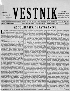 Primary view of object titled 'Věstník (West, Tex.), Vol. 36, No. 27, Ed. 1 Wednesday, June 30, 1948'.
