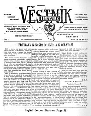 Primary view of object titled 'Věstník (West, Tex.), Vol. 45, No. 7, Ed. 1 Wednesday, February 13, 1957'.