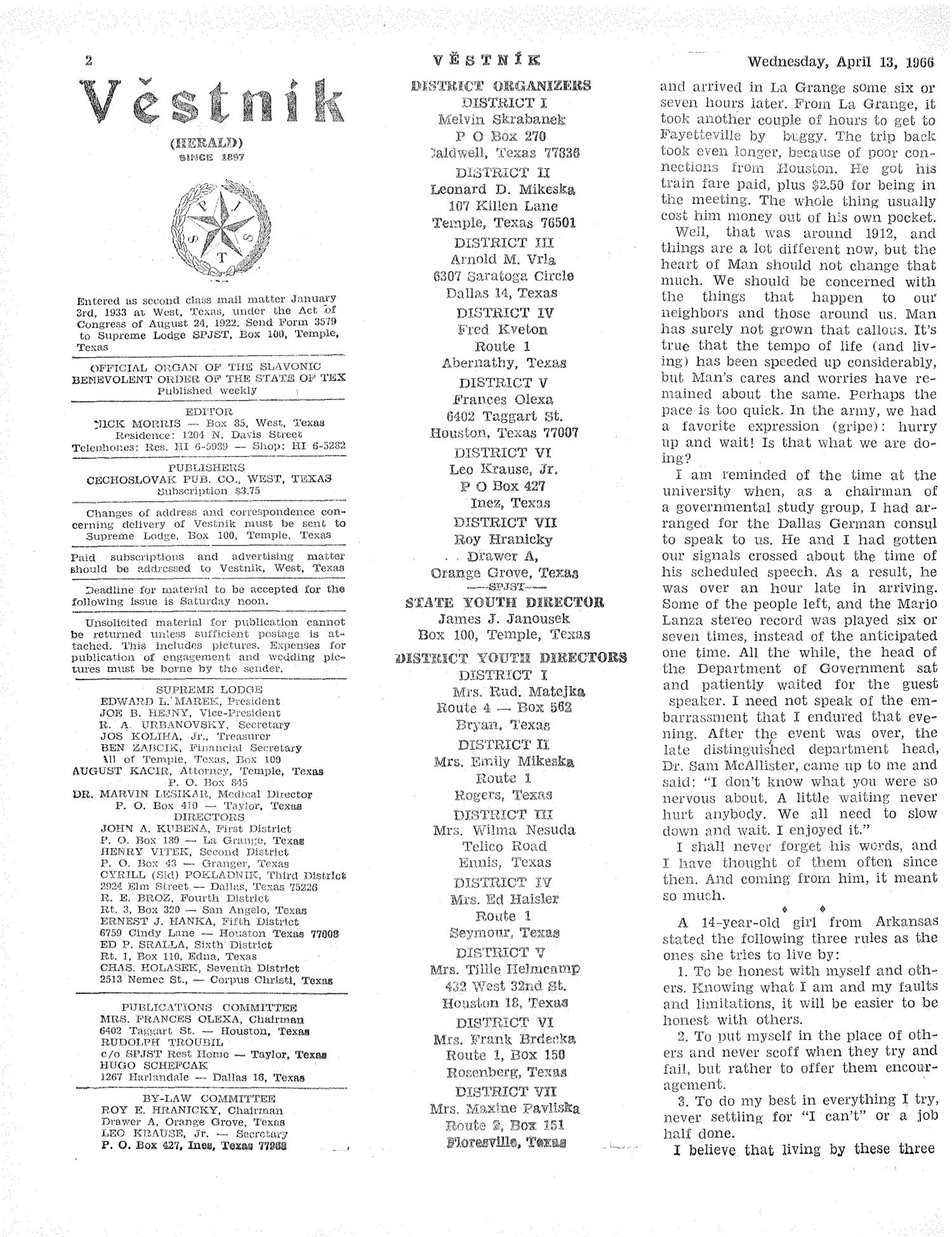 Věstník (West, Tex.), Vol. 54, No. 15, Ed. 1 Wednesday, April 13, 1966                                                                                                      [Sequence #]: 2 of 32